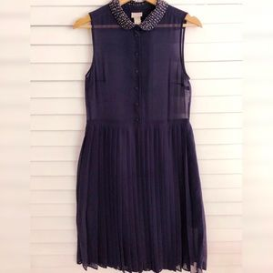 H&M Navy Blue Pleated Skirt Jewel Dress Size 6